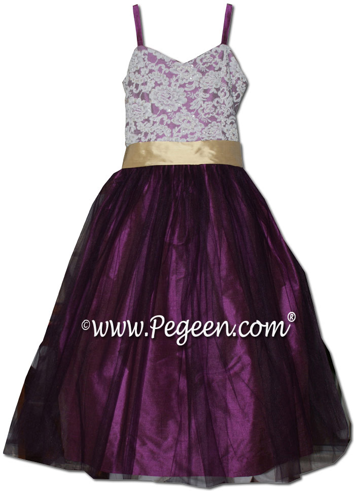 Purple thistle and pure gold tulle silk flower girl dresses degas style ballerina tulle dress