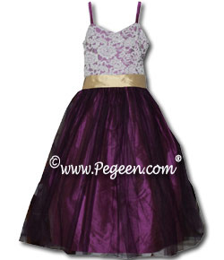 Junior Bridesmaids Dress in Aloncon Beaded Lace and Spagetti Straps #496