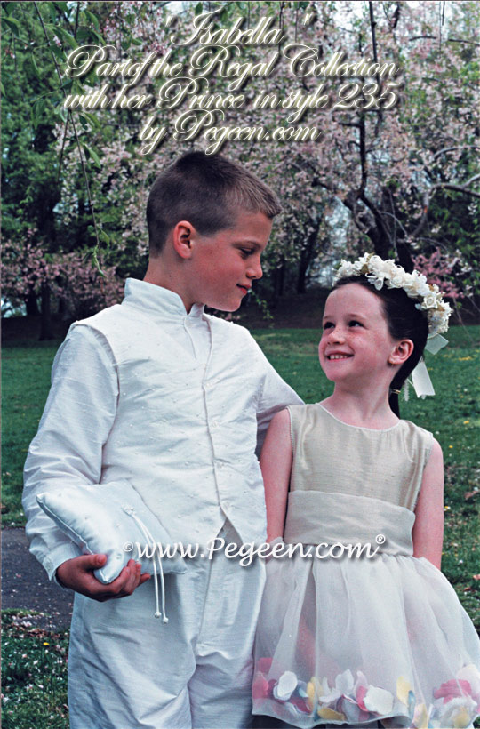 Flower girl dresses and page boy suits from the Regal Collection