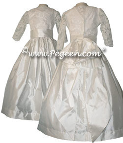 Regal Collection - Queen Silvia Flower girl dress with decolletage neckline