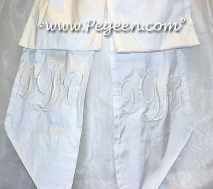 Monogrammed Marie Antoinette Flower girl dresses in silk