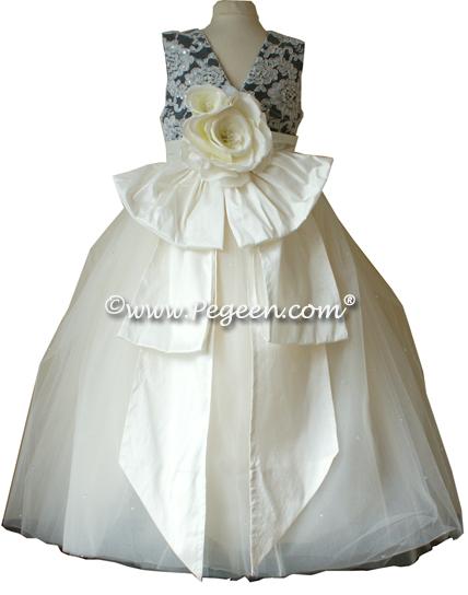 Black Tulle ballerina degas style silk flower girl dresses with Dew Drop Tulle