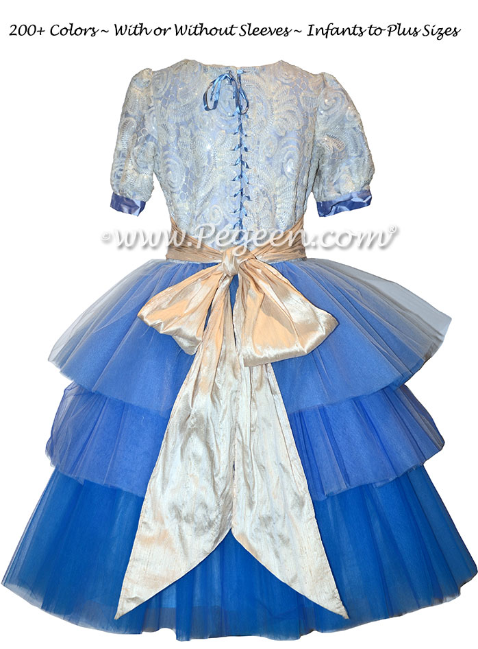 Blue 3-Tier Ombre Tulle Flower Girl Dress Used for Nutcracker Performance by Pegeen