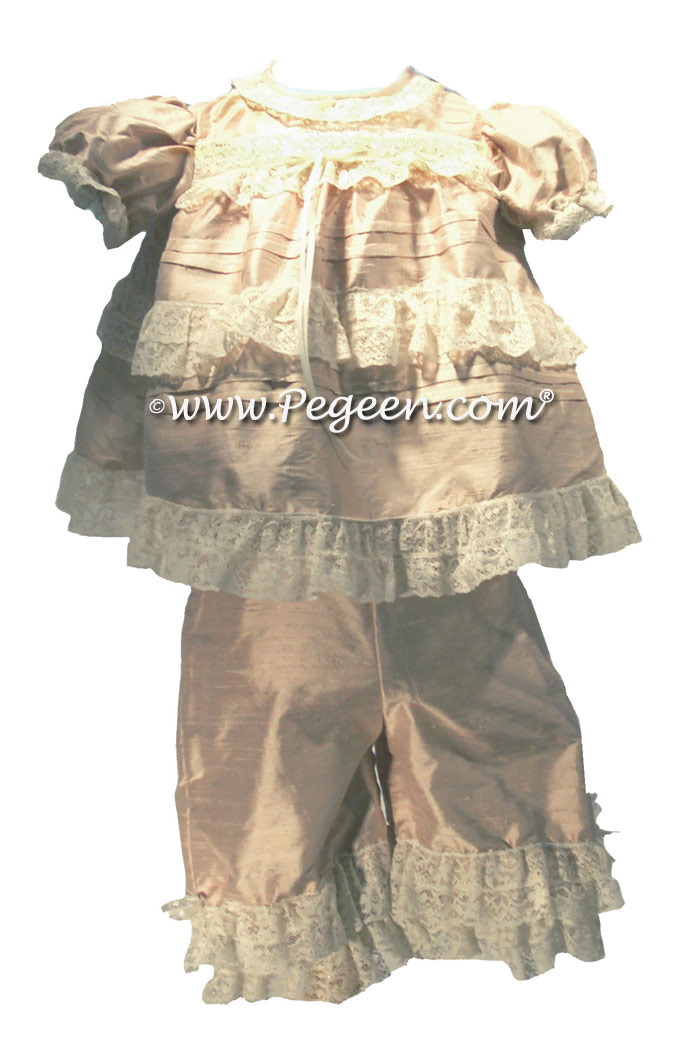 Infant flower girl dress with pantaloons