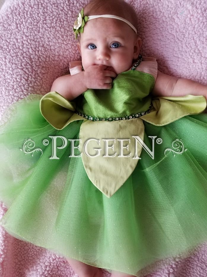 Tinkerbell Princess inspired silk flower girl dress