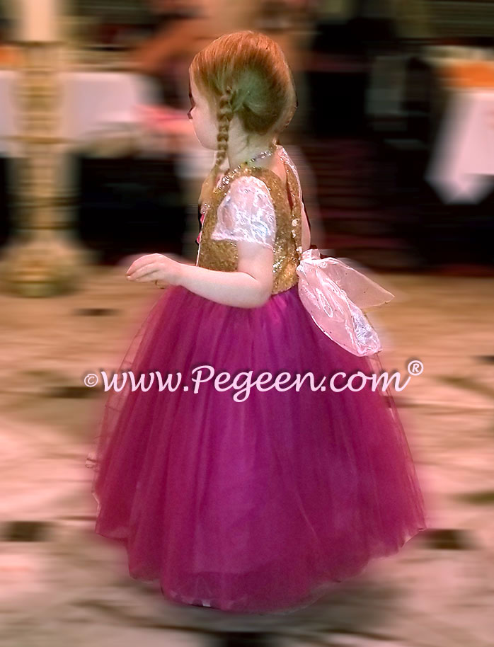 Rapunzel style flower girl dress with Cinderella Bow