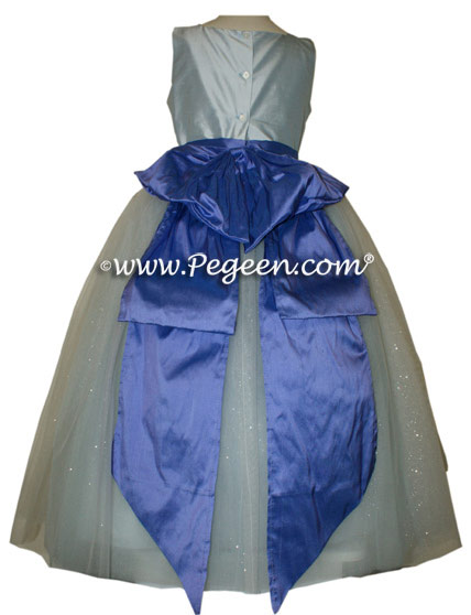 The Sapphire Fairy flower girl dress in blue and blueberry