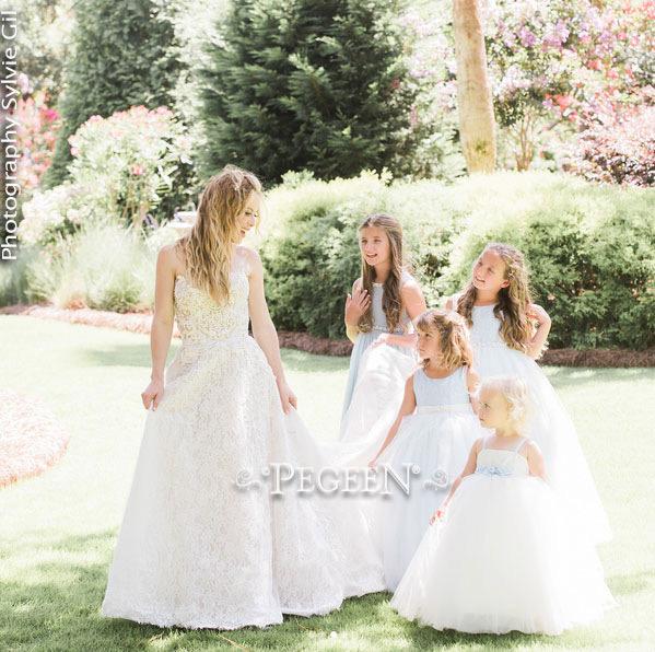 Ivory Embroidered Silk Flower Girl Dress with fluffy tulle Celebrity Weddings Tara Lipinski