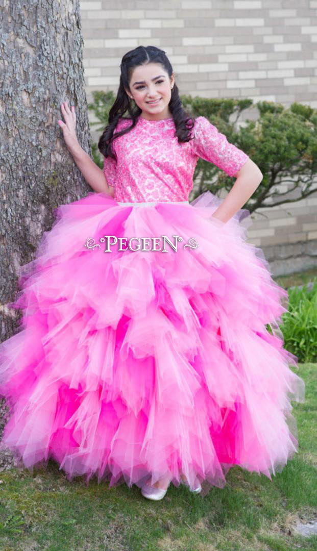 Shock, Raspberry (Fuchsia) and Bubblegum Pink Handkerchief Tulle Skirt with Sequin top Style 933