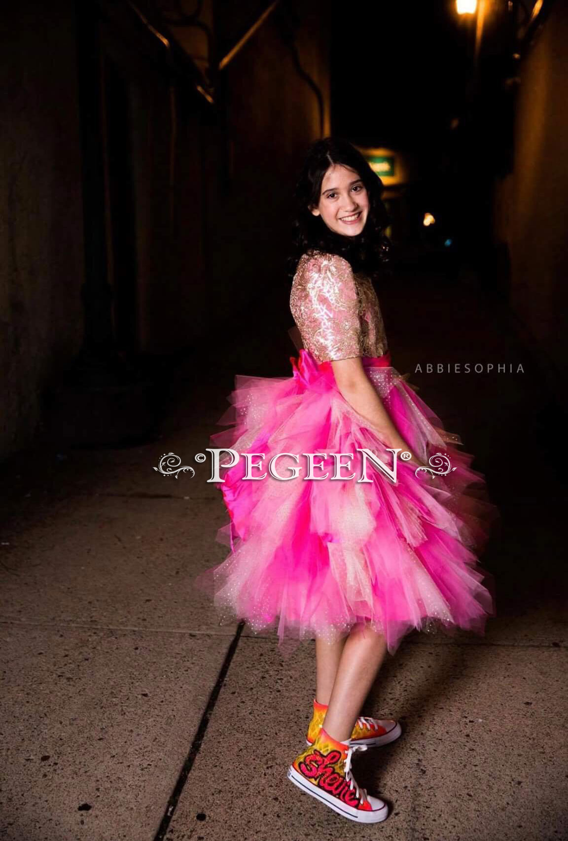 Hot pink tulle Bat Mitzvah dress