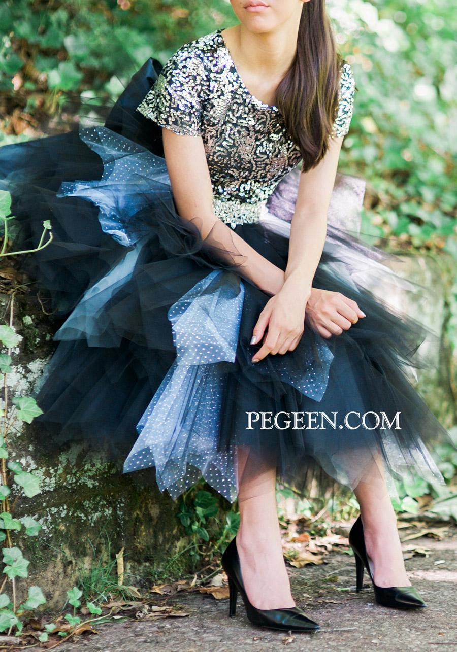 Sequin and tulle junior's flower girl dresses