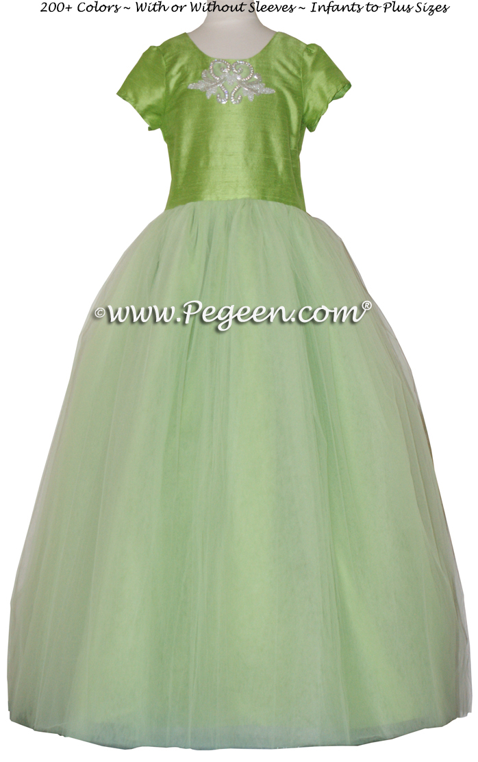 Cotillion or Couture Jr. Bridesmaids Dress w/Tulle and Rhinestone Medallion