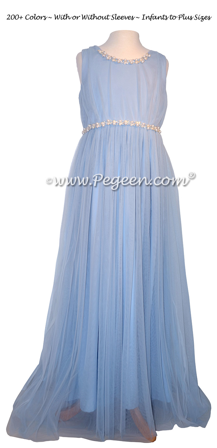 Ice Blue Jr Bridesmaids Dress for Tara Lipinski | Pegeen
