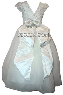 White First Communion with dew drop tulle, pearls, rhinestones, aloncon lace