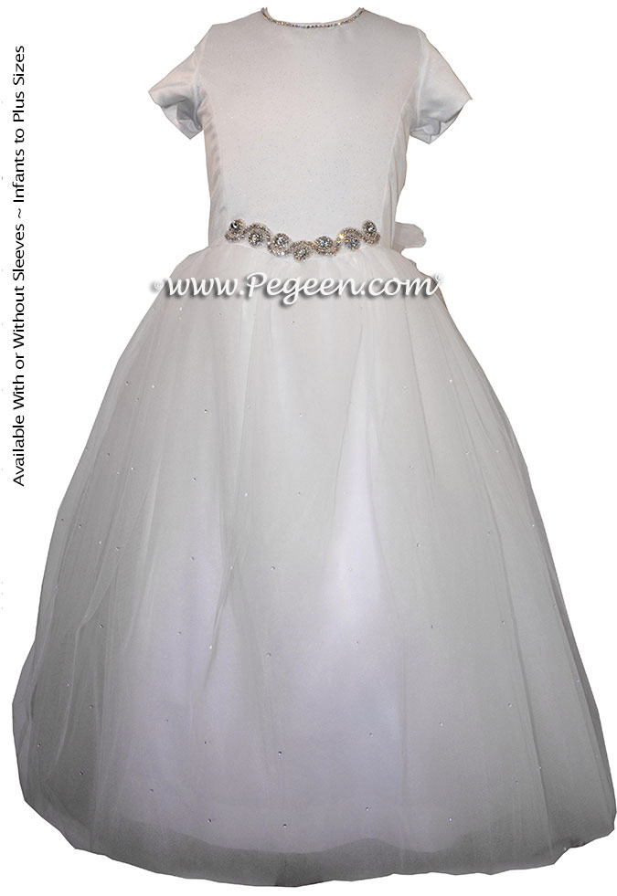 Cotillion or Couture Jr. Bridesmaids Dress w/Tulle, Pearled Silk Trellis, SWAROVSKI Crystals on bodice and Rhinestone Straps