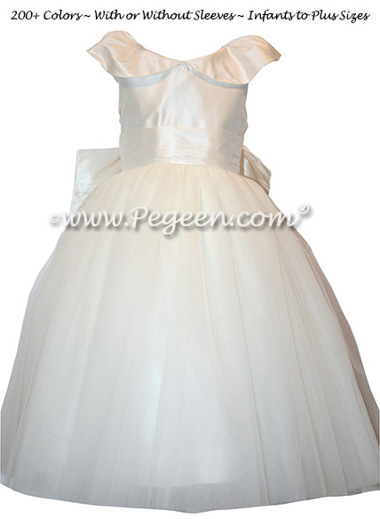 White Silk first communion dress with shawl collar