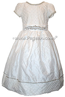 White First Communion with pintuck bodice and rhinestones