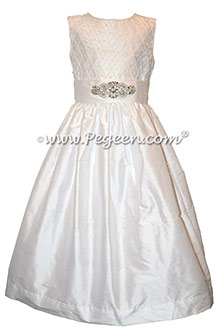 White First Communion with pintuck bodice and swarovski crystals