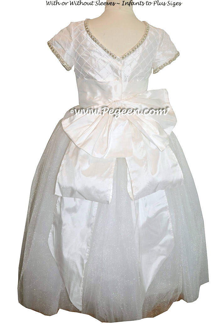 Cotillion or Couture First Communion Dress w/Tulle, Pintuck and Pearled Silk Trellis and Rhinestone and Pearl Trim