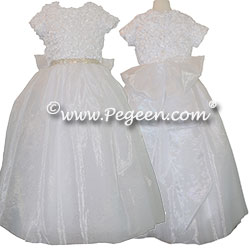 Rhinestones and Ribboned Bodice Sugar Organza and Tulle Dress