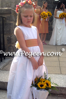Flower girl dresses in grapefruit