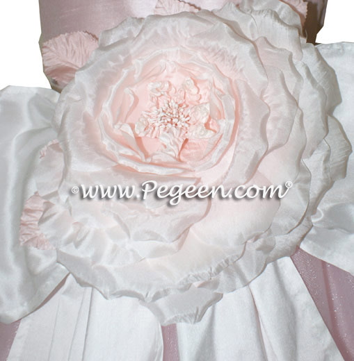 Antique White and Ballet Pink silk and tulle  flower girl dress