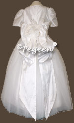 White Silk and Tulle First Communion Dresses with Pegeen Signature Bustle