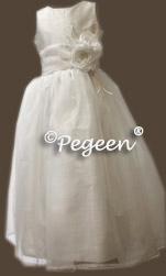 White Communion Dresses with Diamond Silk Bodice