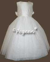 White Silk and Tulle First Communion Dresses Pegeen Couture style 402