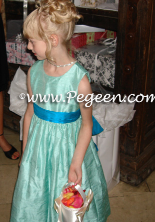 Pegeen Style 345 jewel pool and tiffany flower girl dresses