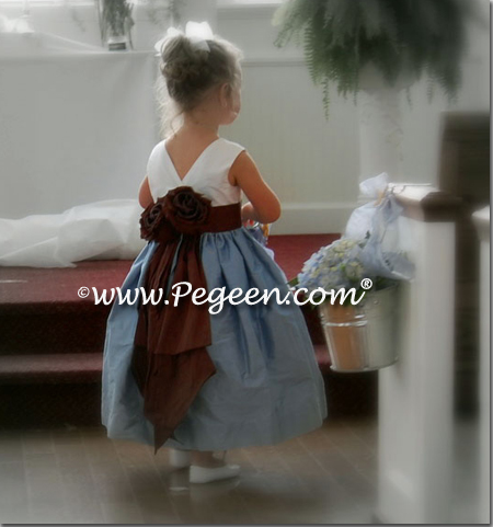 Blue and Chocolate flower girl dresses