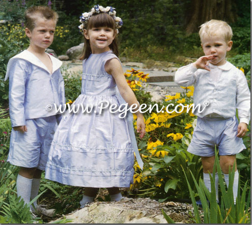 Matching boys ring bearer suit and flower girl dresses