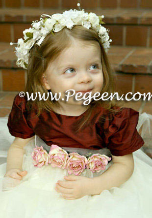 Ivory and burgundy flower girl dresses