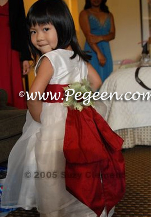 Antique White and Cranberry with Custom Back Flowers -  Flower Girl Dress Style 313