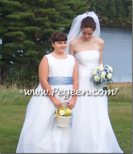 Denim Blue and white silk trellis plus size flower girl dresses