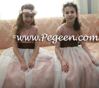 Pink and Brown flower girl dresses