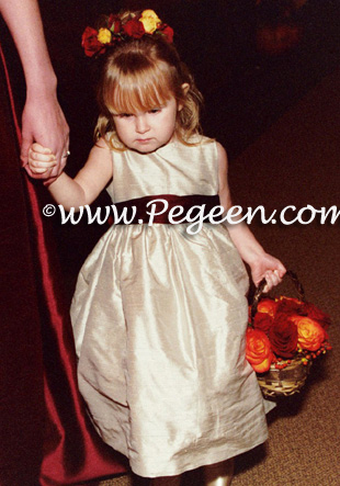Light Gold and Red flower girl dresses