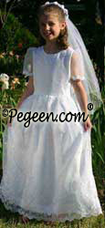 Communion Dresses Pearl &  Embroidered Organza