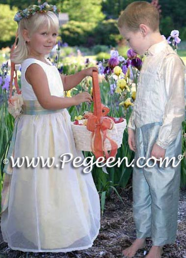Yellow and white silk flower girl dress style 313 with blue ring bearer suit