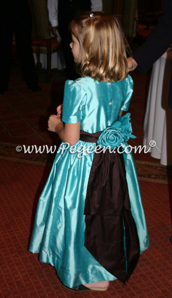 Tiffany blue with chocolate tulle flower girl dress Style 383