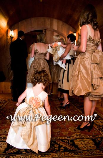 Gold gingham check silk flower girl dresses with rose