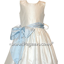 Simple white and pale blue silk flower girl dresses