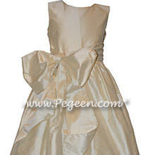 Custom Bisque Silk Flower Girl Dresses