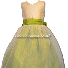 Apple green flower girl dress with sweetheart neckline