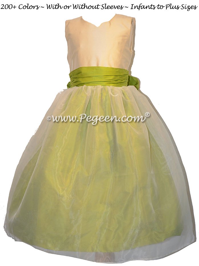 Citrus green flower girl dress with sweetheart neckline