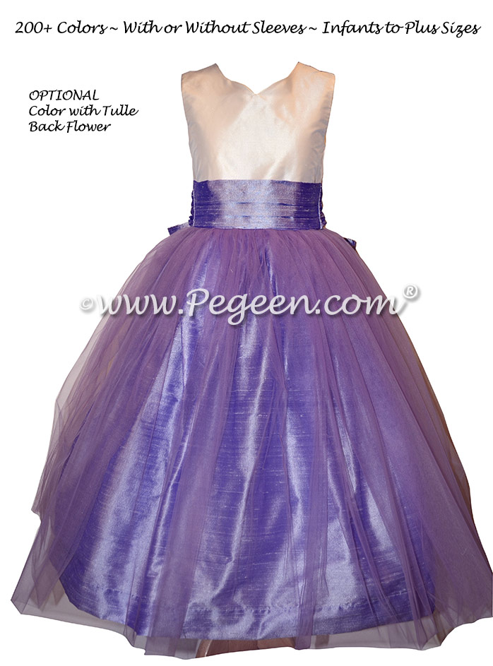 Lilac and Wisteria Silk Jr. Bridesmaids dress Style 301