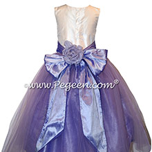 Lilac silk flower girl dress with back flower Style 301