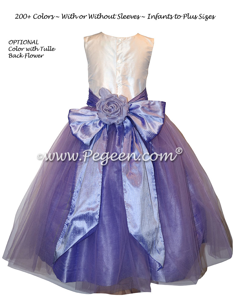 Lilac silk flower girl dress with back flower Style 356 and tulle