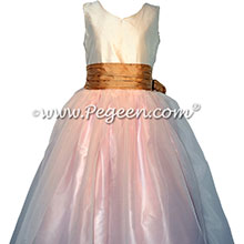 Spun Gold, Peony Pink and New Ivory flower girl dresses Style 301