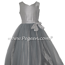 Platinum and Morning Gray Tulle and Silk Flower Girl Dresses